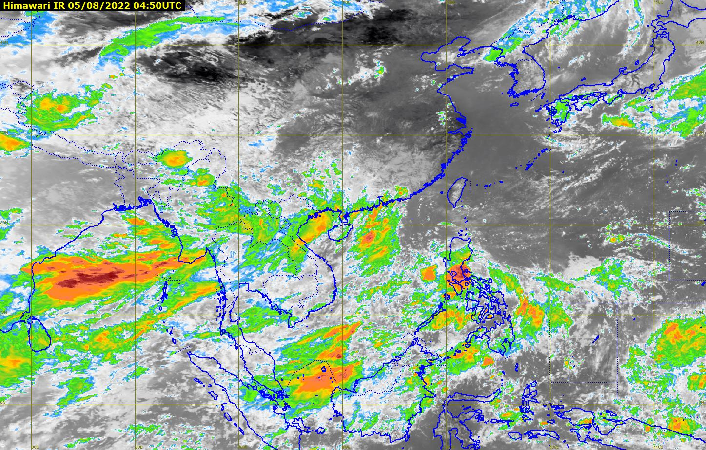 Thailand weather satellite image